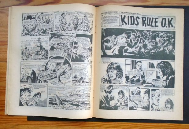 "The third page of Hook Jaw and the opening page of ""Kid Rule OK"" from the copy of Action 37 sold on eBay in 2016"