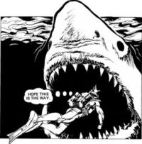"A classic scene from the original ""Hook Jaw"" strip in Action. Art by Ramon Sola"