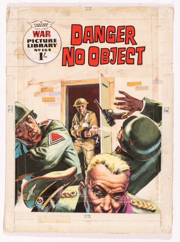 War Picture Library comic 184 original cover artwork 'Danger No Object' (1962) by Studio d'Ami Milan artist Nino Caroselli. With acetate lettering overlay. Poster colour on board. 17 x 12""