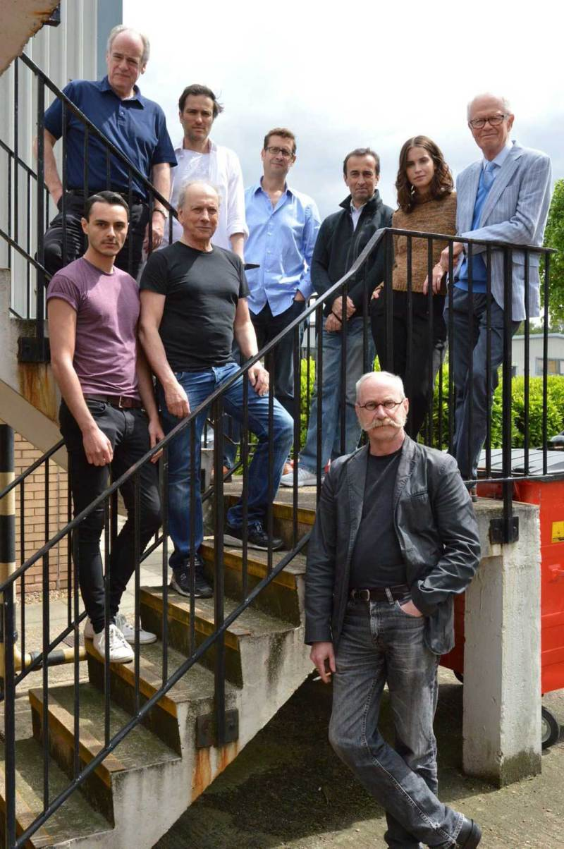 Dan Dare cast and guests during recording of the first season in 2016, in London. Photo: B7 Media
