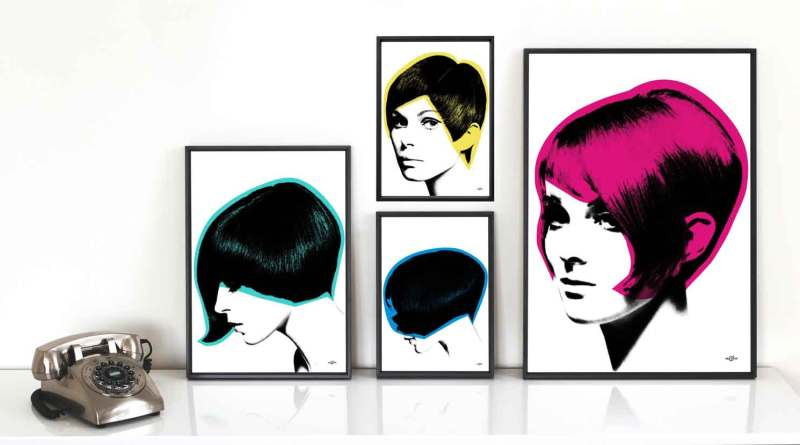 Group of pop art prints of iconic 1960s hairstyles, given Art & Hue's stylish pop art treatment, part of the Mod Hair collection