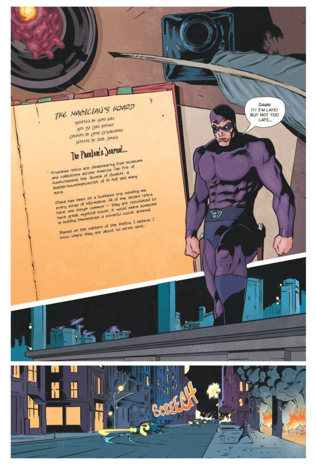 "The opening page from ""The Magician's Hoard"" written by Sean Hill, with art by Cian Tormey, coloured by Chris O'Halloran, lettered by Robin Jones"