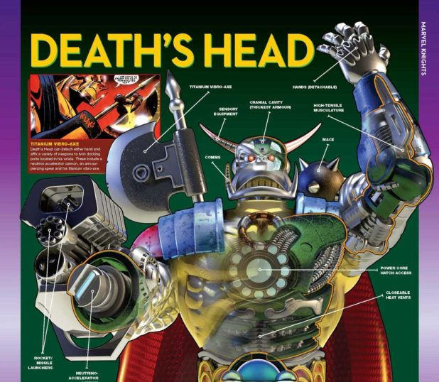 Part of the Marvel Fact Files Issue 195 - Death's Head Cutaway. The full gatefold and accompanying feature is a stunning piece of work from Simon Furman and Kev Hopgood.