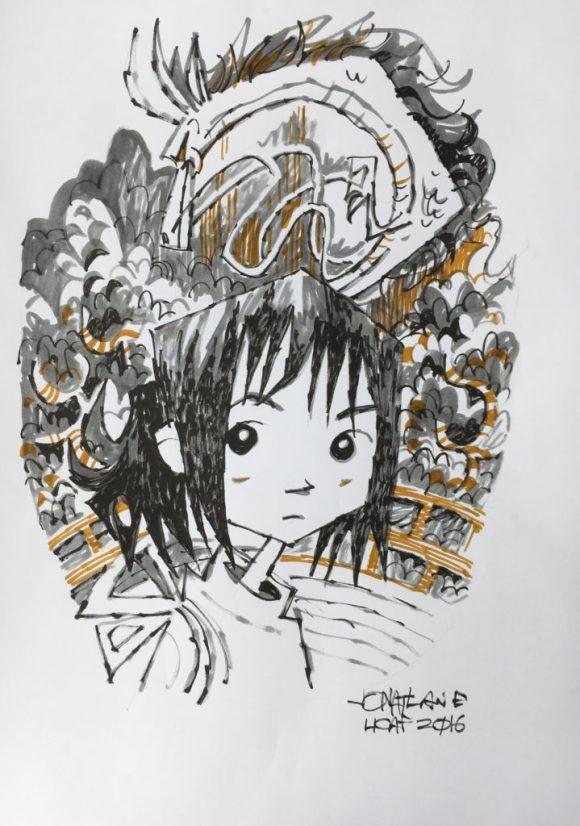 2016 Lakes International Comic Art Festival auction art:  a homage to Miyazaki by Jonathan Edwards
