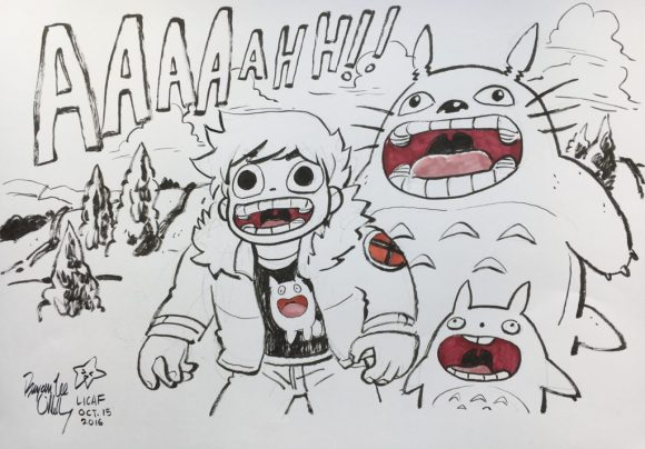 2016 Lakes International Comic Art Festival auction art:  a homage to Miyazaki by Bryan Lee O'Malley