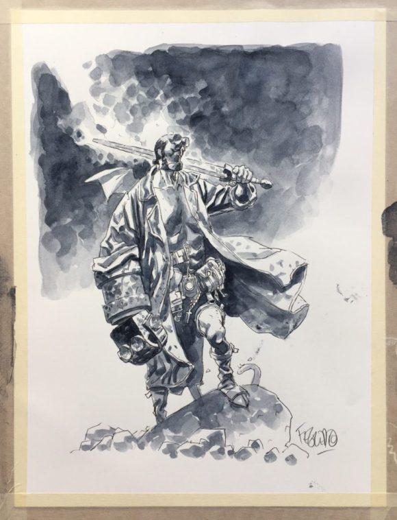 2016 Lakes International Comic Art Festival auction art:  Hellboy by Duncan Febgredo