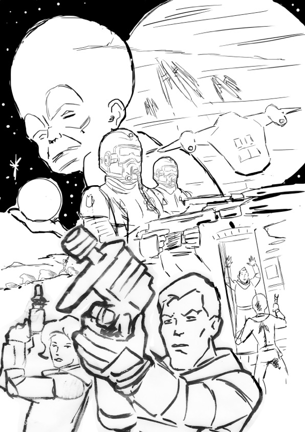 "Brian Williamson's preliminary sketch for the Dan Dare Audio Adventures poster ""Marooned on Mercury"""