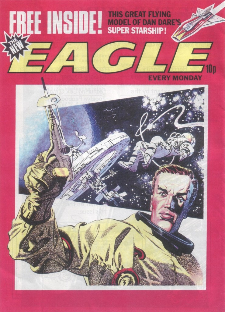 "The spaceship in the top right on this Eagle dummy, featuring a cover by Frank Bellamy, is taken from a ""Rise and Fall of the Trigan Empire"" strip"