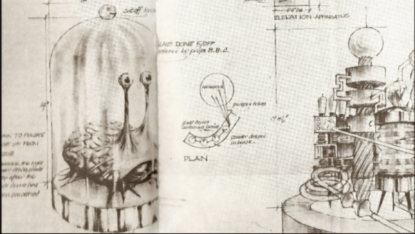 The design of the brain creatures of the City of Morphoton was the work of the BBC's Raymond Cusick and made by Shawcraft Models.