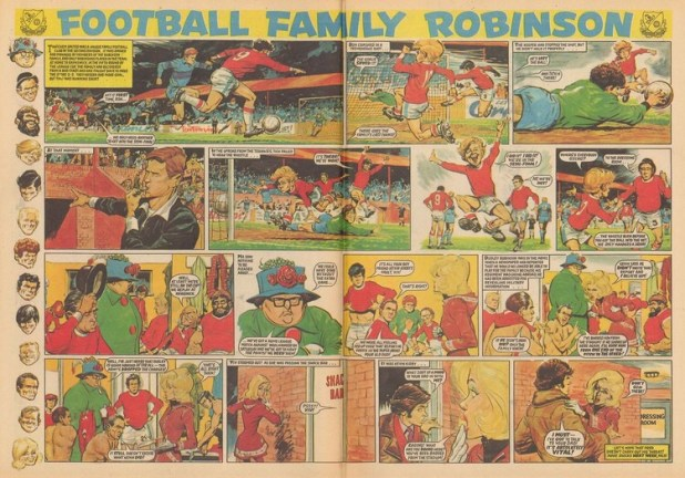 """""""Football Family Robinson"""" from Tiger and Jag, cover dated 29th January 1972. Written by Fred Baker, art by John Gillatt"""