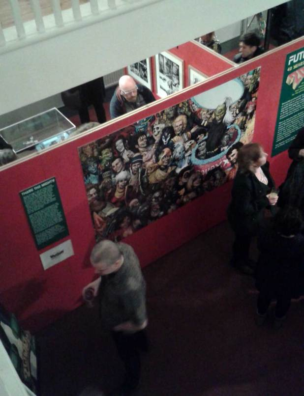 2000AD fans enjoying the Future Shock! anniversary exhibition at London's Cartoon Museum on its opening night