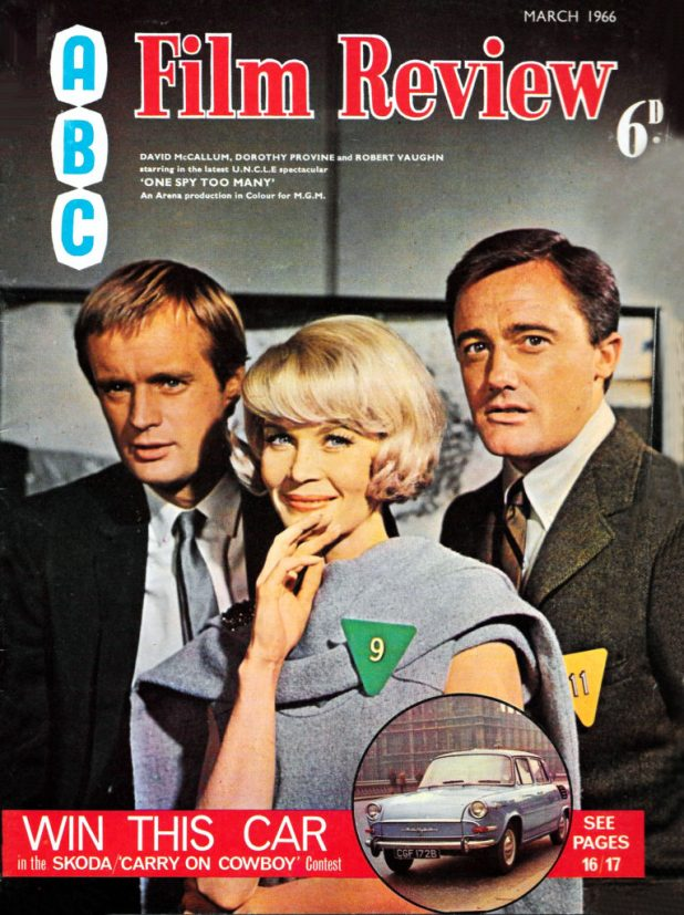 ABC Film Review featured several genre covers, including this one of the Man from U.N.C.L.E. team, cover dated March 1966