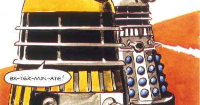 A panel from *Sub Zero, featuring the Third Doctor and the Daleks, originally presented in 1972 in Countdown comic