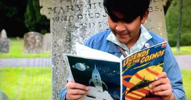 """Nikhil Prasad (Yadav Ganatra) reads Legends of the Cosmos in the Father Brown episode """"Fire in the Sky"""""""