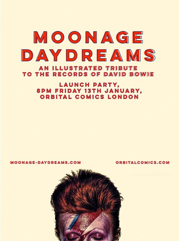 Moonage Daydreams Exhibition - Launch Party Poster