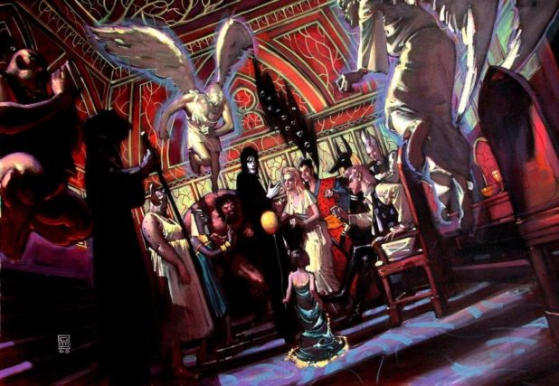 A beautiful John Watkiss painting done as part of a pitch for a series of Sandman movies, in about 2005, posted in an online tribute to John by author Neil Gaiman