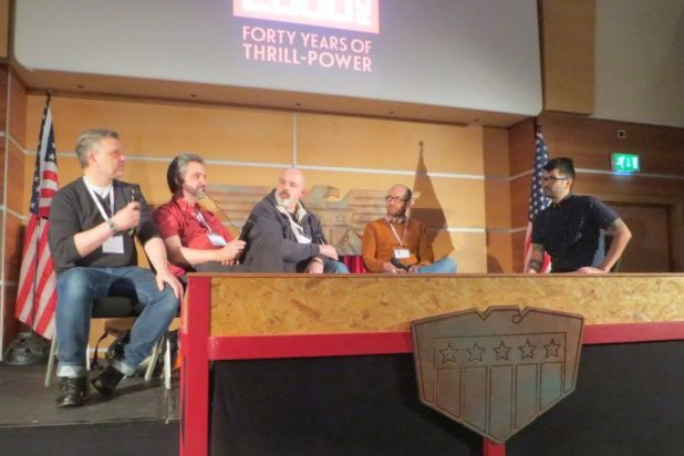 Ian Edginton, Matt Brooker, Ian Culbard and Rob Williams discuss world building on stage. Photo: Wakefield Carter