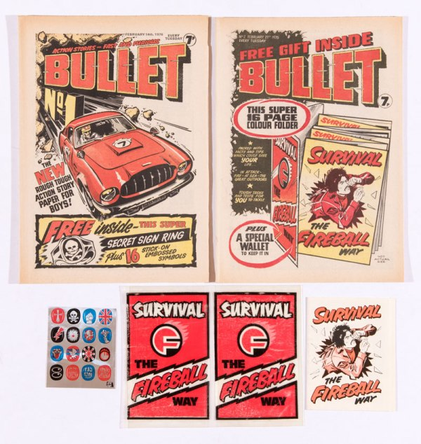 Bullet issues 1, 2, published in 1976, both with free gifts - a signet ring with Transfers and Survival booklet and Wallet [vfn] (2)