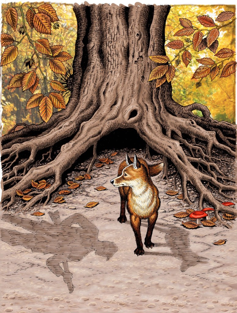 John Stokes beautiful cover for the new Marney the Fox collection from Rebellion Publishing