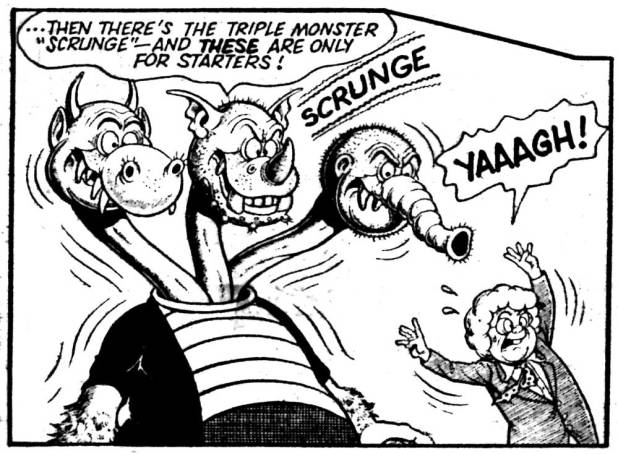 A panel from the long-running Faceache strip by Ken Reid. This art is from the first merged issue of Buster and Jackpot, cover dated 6th August 1982
