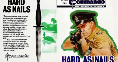 """The full cover of Ian Kennedy's cover for Commando 1425, complete with Commando """"dagger"""""""