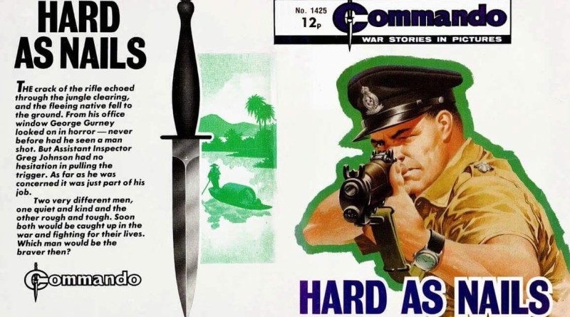 "The full cover of Ian Kennedy's cover for Commando 1425, complete with Commando ""dagger"""
