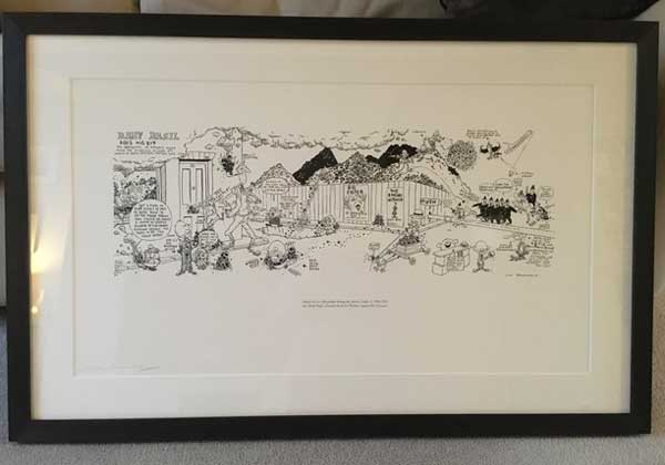 "This specially-made print of ""Baby Basil Does His Bit"" by Leo Baxendale is now on permanent display in the Brewery Arts Centre in Kendal"