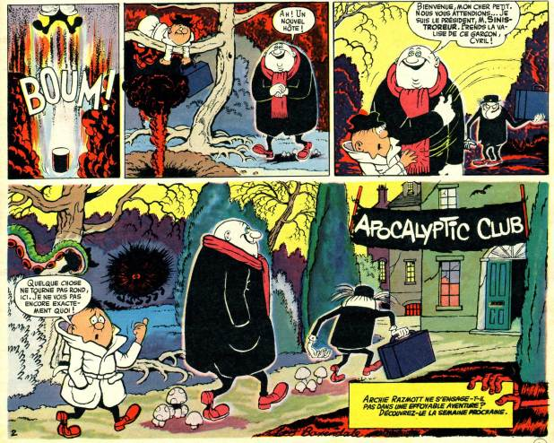 """""""Eagle-Eye, Junior Spy"""" was later translated into French in the Disney magazine Journal de Mickey as """"Archibald Razmott. Mini-Barbouze de Choc"""", while his arch enemy Grimly Feendish was known as Sinistroteur"""