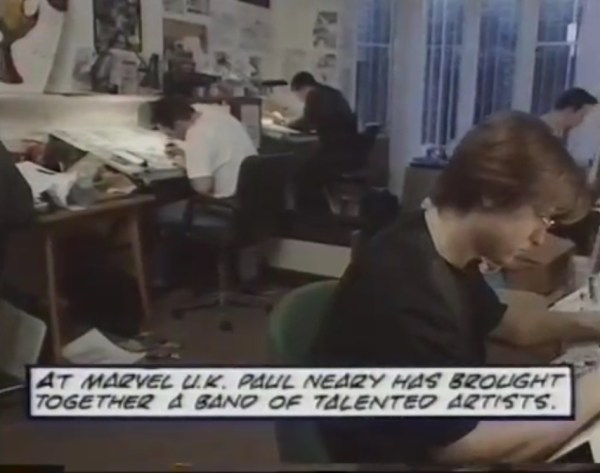 The Marvel UK Bullpen, mid-1993. Pictured here are Andy Lanning, Bryan Hitch, Martin Griffiths and Liam Sharp. Artist Andrew Currie is just in shot on the left. Colourist and artist Steve Whitaker was also a regular in the basement, as was Edmund Perryman, among others