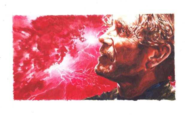 "Paul McGann as the Eighth Doctor and 'The Oncoming Storm"". Art by Richard Piers Rayner"