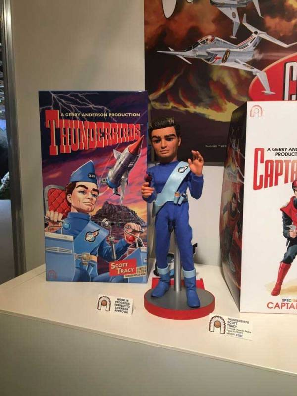 The Scott Tracy figure - and early artwork by Lee - on display