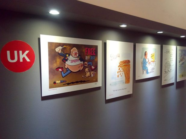 "Some of the British cartoonists work featured in the ""Sweet Europe"" exhibition in Athens in 2017"