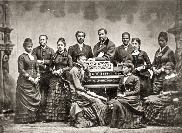 The Fisk Jubilee Singers (seen here at the World's Columbian Exposition in Chicago in 1893) performed at Newcastle's Tyne Concert Hall, as did many other black entertainers.