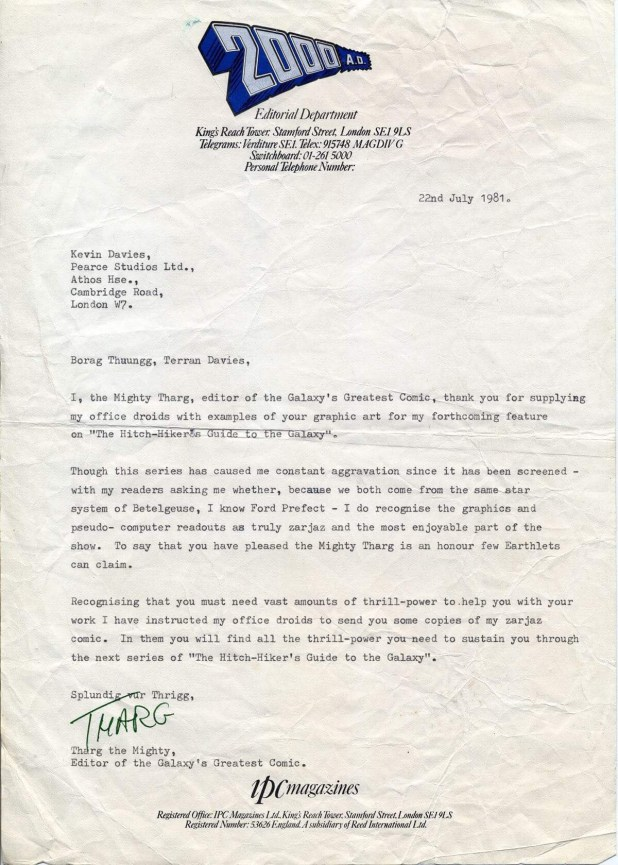 "Former 2000AD editor Steve MacManus suggests this letter was written by Richard Burton as it's his ""Tharg"" signature on it"