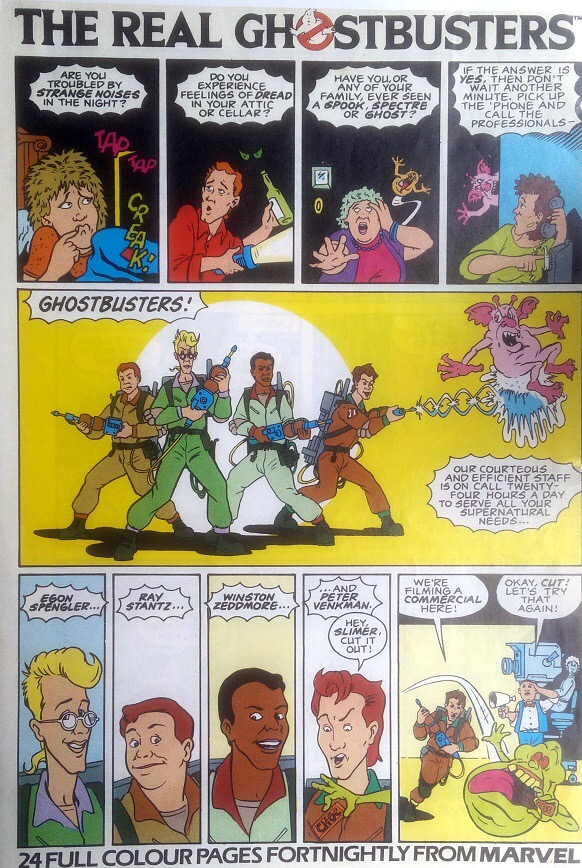 The first Marvel UK house ad for The Real Ghostbusters. Art by Brian Williamson