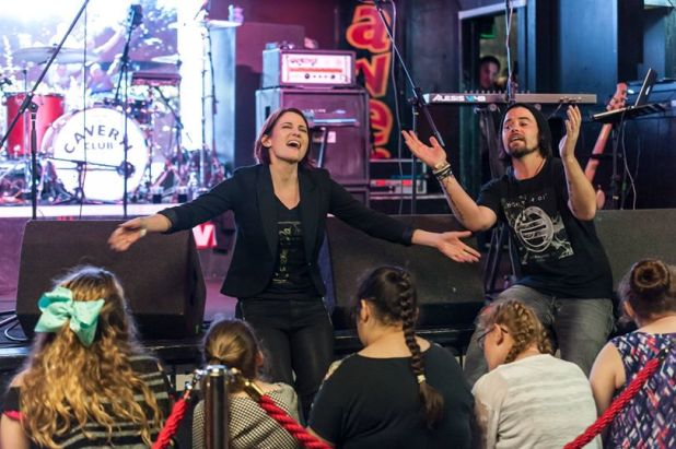 Chyler Leigh and East of Eli on stage at the Cavern Club to help launch the Fab 4000 project. Photo courtesy Tim Quinn