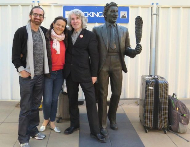 """Members of Chyler and Nathan's ever-expanding Charity Pulse team, Jorge Costa, Gina Badenoch, Tim Quinn, and Ken Dodd (without whom...). """"This was our first meeting fresh off the train from Mexico,"""" says Tim. """"The only slightly disturbing thing about this picture is trying to figure out what the word spells between me and Ken..."""" Photo courtesy Tim Quinn"""