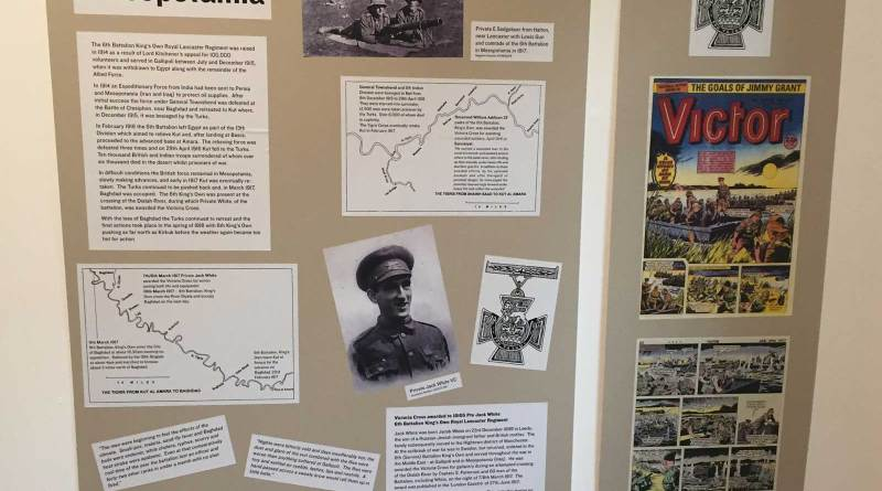 "The display board at the ""Boom Town"" featuring Victoria Cross winner Jack White and Victor 1358"