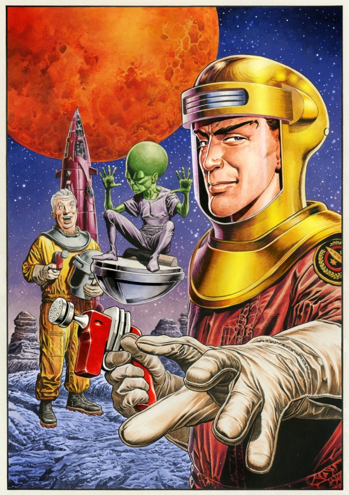 "Chris Weston's ""retro"" variant cover art for Titan Comics Dan Dare: Pilot of the Future #1"
