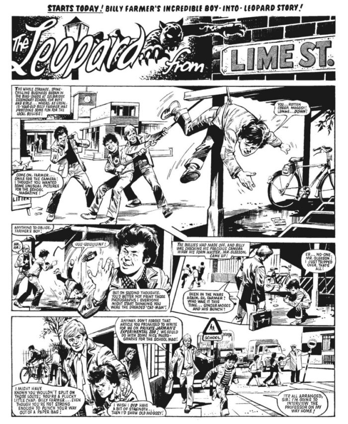 "The opening page of the first episode of ""The Leopard from Lime Street"" art by Mike Western"