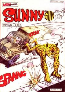 The first cover of the French comic Sunny Sun. The Leopard from Lime Street is drawn here by Chiomenti