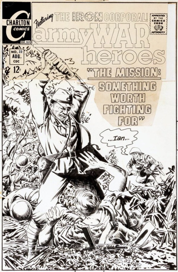 Original cover art by Sam Glanzman from Army War Heroes #33, published by Charlton Comics, August 1969