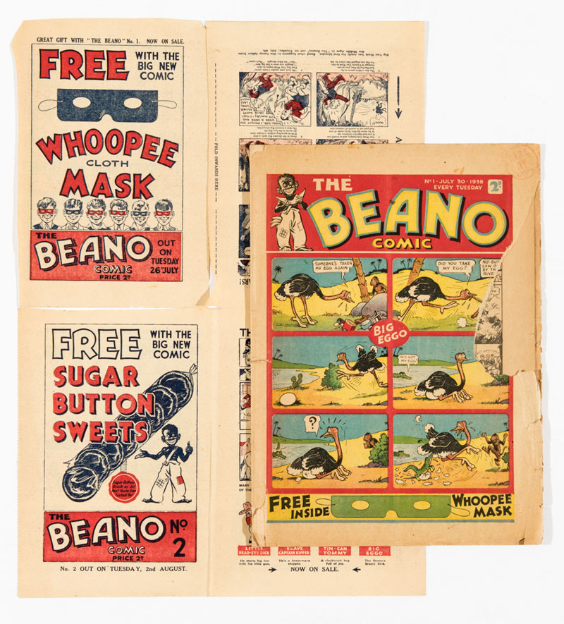 Beano Comic No 1 (1938) with Beano No 1 and No 2 Flyer 8 pg mini comic. Introducing Big Eggo, Lord Snooty, Little Peanut and Tin-Can Tommy