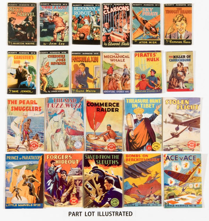 Mighty Midgets 'Blitz' books (1940-44, published by W. Barton). Mostly sold by Woolworth's at 3d each, these booklets helped distract children in air-raid shelters and underground stations during bombing raids over London. Consequently, they became known as 'Blitz' books and are scarce. The 3d price was subsidised by Kiwi, Saxa Salt, Bisto and Paxo who advertised on Mighty Midgets back covers