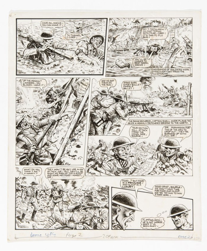 "Charley's War original artwork (1984) by Joe Colquhoun for Battle 484 page 2, cover dated 11th August 1984. Under enemy fire, Charley sets up a machine gun post on the enemy bank but after heavy losses Captain Snell tries to drive them on … This art is signed to the reverse: ""Best wishes from Joe Colquhoun"""