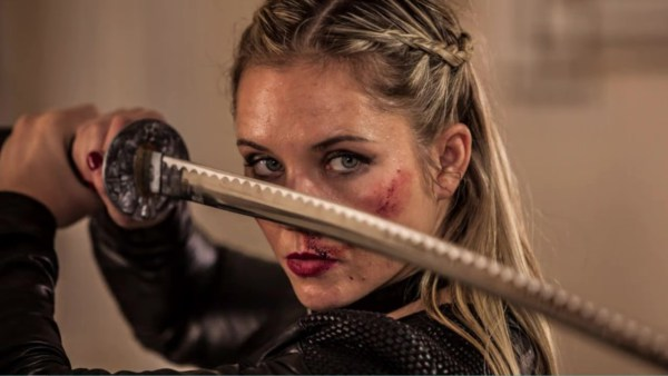 Amy Johnston as Jane the Ripper in the new Accident Man movie