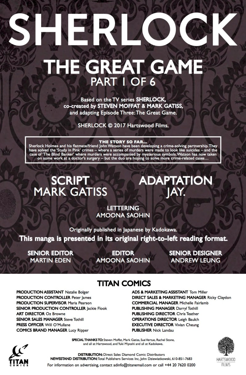 Sherlock: The Great Game #1 - Credits