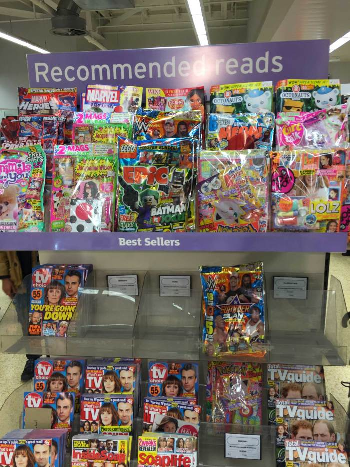 Supermarkets regularly promote key comic titles but it's clear the promotions are aimed at parents, with the titles racked out of reach of children