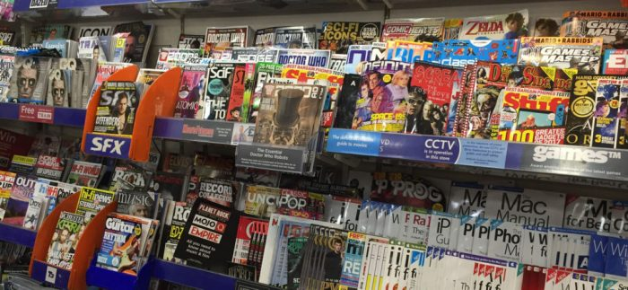 Teen titles on the shelves of a mid-range WHSmith - August 2017. In this store, 2000AD is clearly visible - but it's last week's issue, with the current issue racked in its normal position on the rack.
