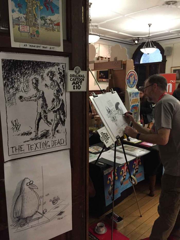 Cartoonists Club of Great Britain beavering away. Photo: John Freeman
